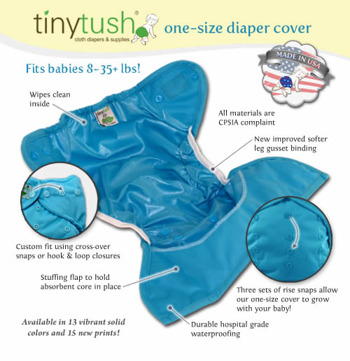 Tiny Tush One Size Diaper Cover Open