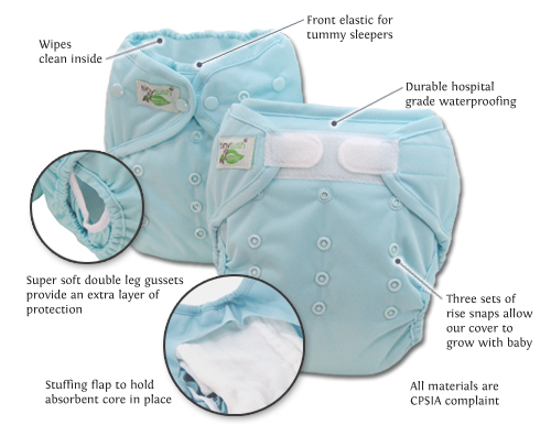 Tiny Tush One Size Diaper Cover Aplix and Snap Closure